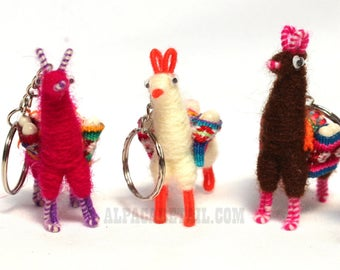 3 PACK 6 PACK Tiny Llama Keychain ethnic decoration gift bag accessories, Andean Collectible Handcrafted Miniature Figurine