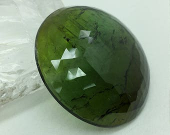 Natural Green Tourmaline Gemstone Unique Round Shape Cab Cut On Top Jgicv0056