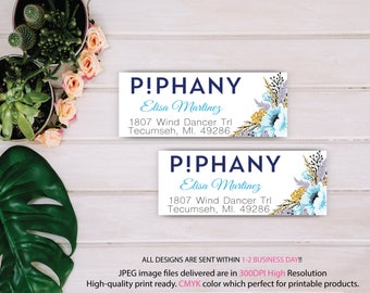 Piphany Address Label, Piphany Address Sticker, Custom Piphany Marketing Card, Printable Card - PERSONALIZED TP07