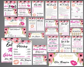 LipSense Bundle, Custom LipSense Kit, Lipsense Business card, Tips and Tricks, LipSense Thank You, Watercolor Flower Cards LS02
