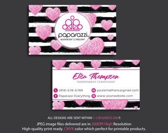 PERSONALIZED Paparazzi Business Card, Custom Paparazzi Business Card, Pink Glitter Cards, Free Personalization, Printable Business Card PP18