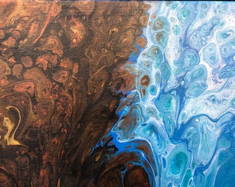 Abstract painting on canvas, liquid acrylic poured painting EARTH AND OCEAN