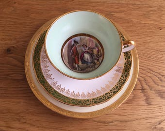 Mismatched Vintage Teacup Trio featuring Royal Worcester, Duchess China and Cries of London portrait