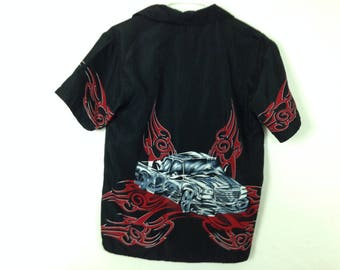 Black n red tribal + car button-up