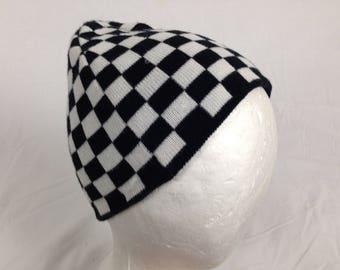 black and white checkered beanie