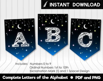 Instant Download - Hanging Stars Moon Alphabet Pennants Bunting Baby Shower Baby Sprinkle Birthday Party Banner Printable DIY - Digital File