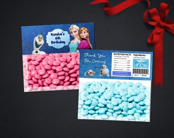 Personalized Frozen Elsa Anna Bag Topper Birthday Party Favor Toppers Favors Printable DIY - Digital File