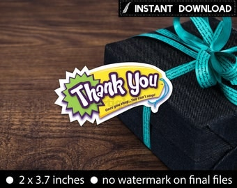 Instant Download - Shopkins Logo Thank You Tags Birthday Party Shopkins Inspired Font Printable DIY-Digital File