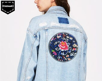 Iron on Patch Flower Large Embroidered Patch Flower Large Aesthetic Patch Cool Iron on Patch for Women Denim Jacket Large Back Patch