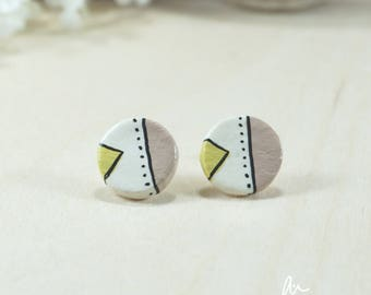 small stud earrings, minimal, modern, cute, yellow, dusty rose, pink, porcelain, ceramic, perfect birthday gift