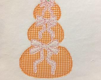 pumpkins with bows stack blanket applique vintage style