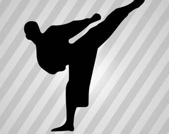 Karate Silhouette Martial Arts - Svg Dxf Eps Silhouette Rld RDWorks Pdf Png AI Files Digital Cut Vector File Svg File Cricut Laser Cut