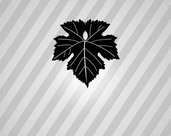 grape leaf Silhouette - Svg Dxf Eps Silhouette Rld RDWorks Pdf Png AI Files Digital Cut Vector File Svg File Cricut Laser Cut