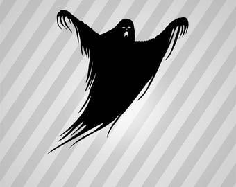 ghost Silhouette - Svg Dxf Eps Silhouette Rld RDWorks Pdf Png AI Files Digital Cut Vector File Svg File Cricut Laser Cut