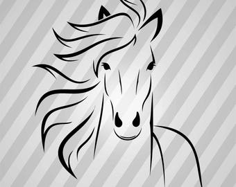 White Horse - Svg Dxf Eps Silhouette Rld RDWorks Pdf Png AI Files Digital Cut Vector File Svg File Cricut Laser Cut