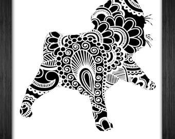 Puppy Papercut Template Mandala Henna - Svg Paper Cut Templates Stencil Line Art Pdf Cut Files Digital Clip Art Drawing