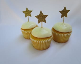 12 Count Glitter Stars Cupcake Toppers - Celebration - Decorations - Party Decor - Dessert Toppers - Glitter Toppers