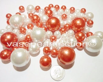 Orange Pearls/Deep Coral Pearls and White Pearls Vase Fillers in Jumbo and Assorted Sizes for Centerpieces and Home Decor