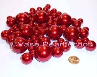 All Red Pearls/Cherry Pearls Vase Fillers in Jumbo and Assorted Sizes for Centerpieces