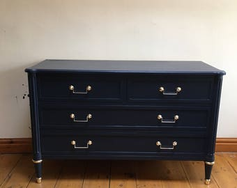 Mid century modern painted blue & gold drawers solid