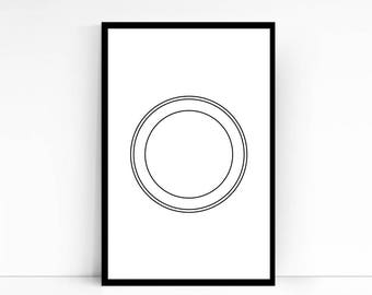 "Circle in Circle Art Poster, Line drawing, Black and white, Zen, Instant Download, Size 30"" x 30"""