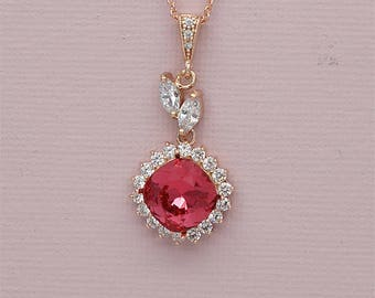 Ruby Red Necklace Red Crystal Pendant Necklace Rhinestone Bridal Necklace Swarovski Crystal Jewelry Rose Gold Bridesmaid Necklaces