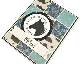 Thank You Card - Western Card - Horse Card - Horse Thank You Card - Much Obliged - Die Cut Card - Blue And Brown Card - Handmade Card