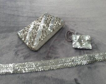 Vintage 1970s Silver Sequin clutch bag, belt and purse set