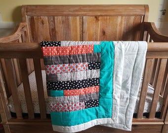 Aqua/Coral Crib Quilt