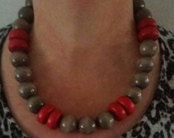 statement necklace ladies beaded necklace red grey chunky necklace