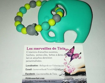 """Éléphant"" silicone teething ring"