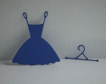 Cut little Navy Blue drawing paper dress with its hanger
