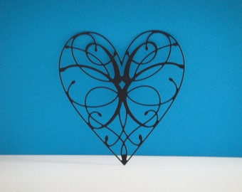 Cut black heart for scrapbooking and card
