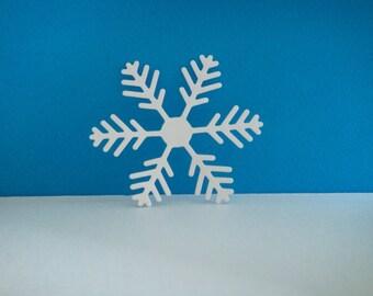 White snowflakes cut foam for creation for Christmas, 7.1 cm diameter