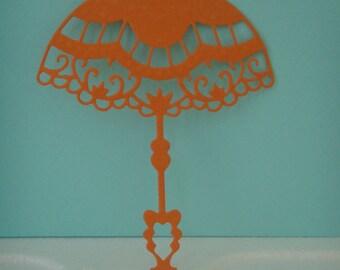 Orange umbrella cut for scrapbooking or card