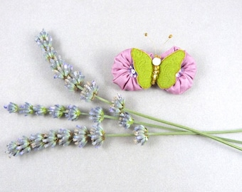 PIN silk trimmed with Lavender pink flowers and Butterfly silk lime green - romantic and spring