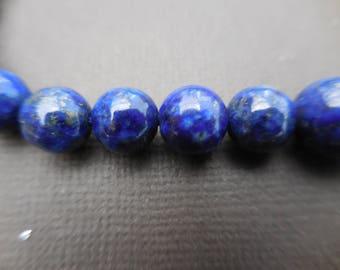 Lapis lazuli: 3 10 mm round beads - blue semi-precious stone