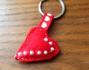 Red heart bag charm or key holder.