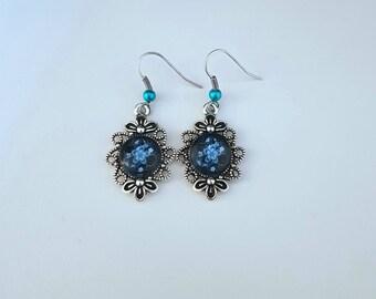 Blue Japanese flower earrings
