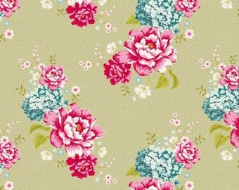 Fabric coupon, TILDA, 50/35 cm, khaki flowerpatch, patchwork, clothing