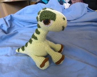 Green dinosaur with stripes, crochet hoodie