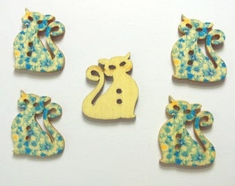 LOT 5 wood buttons: cat 29 * 24mm (01)