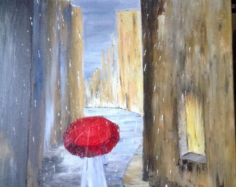 The Red umbrella - modern painting painted with oil knife