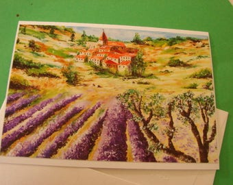"Map double reproduction photo of my painting ""Provence landscape"""