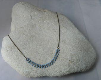 Sky blue glazed corn chain necklace