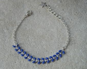 Blue glazed corn chain bracelet