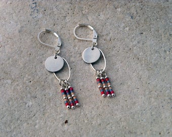 Miuyki beads and silver disc earrings