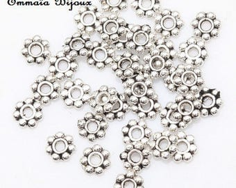 40 silver plated 4 mm rondelle beads