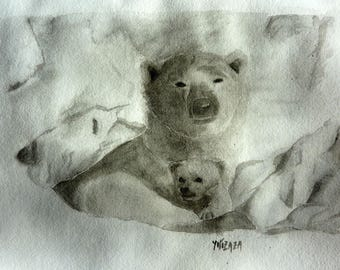 watercolor Mama bear and her Cub in black and white