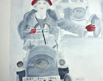 watercolor woman used modern with a Red Hat